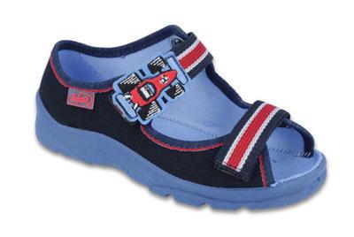 969X128 25 - chl.sandálek s patou, modro-červ.,F1