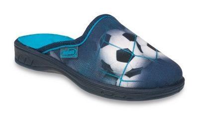 707Y381 31 - JOGI - dět.pantofle,ZŠ,modrá,fotb.míč