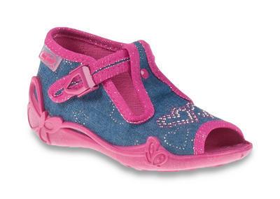213P101 18 - dět.sandálek, modrý, růž.lem, srdíčka