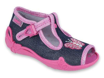 213P112 19 - dív.sandálek, modrá, motýl