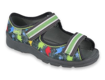 969X140 25 - chl.sandálek s patou, šedá, dinosauři
