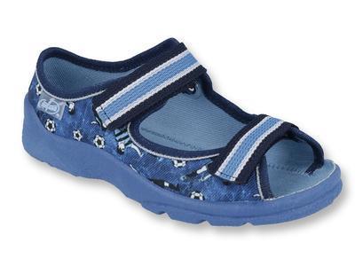 969X141 25 - chl.sandálek s patou, modrá, fotbal