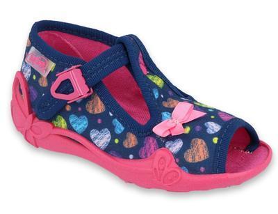 213P118 18 - dív.sandálek, modrá, srdíčka, mašle