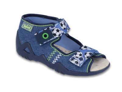 250P075 18 - chl.sandálek 2SZ, modrá,fotb.míče,kož