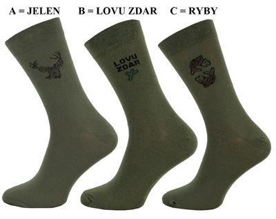 1045 A - Pánské ponožky lovec, 28-29 (42-43) JELEN