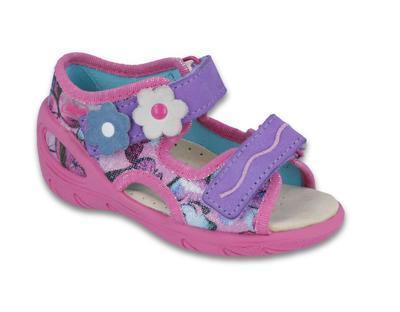 065P120 20 - SUNNY dívčí sandálky,růž-fial,kytičky