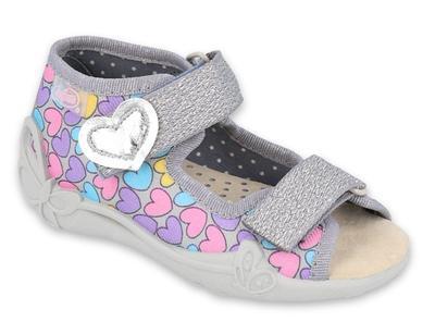 342P013 18 - dívčí sandálek, kožená stélka,srdíčka