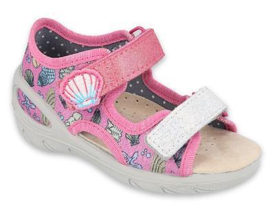 065P134 20 -SUNNY dívčí sandálky růžové,motiv moře