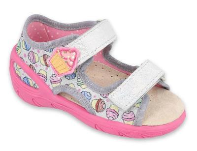 065X135 26 - SUNNY dívčí sandálky šedé, cupcakes