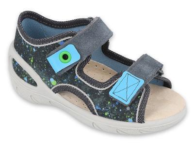 065X127 26 - SUNNY chlapecké sandálky šedé, tečky