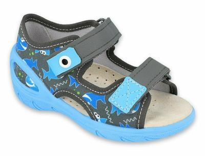 065X128 26 - SUNNY chlapecké sandálky šedé, ryby