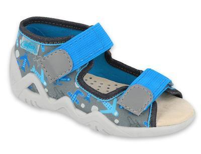 350P007 18 - chlapecké sandálky šedé,kožená stélka