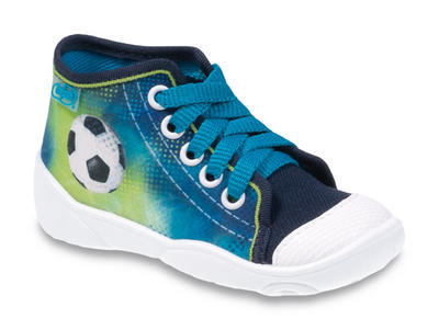 218P049 18 - tenisky-kotníčk., modrá, fotbal. míč