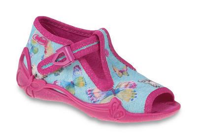213P084 25 - dív.sandálek, růžovo-modrá, motýl