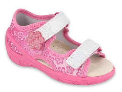 065P138 20 - SUNNY dívčí sandálky růžové, kytičky
