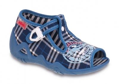 217P028 18 - dět.sandálek-SNAKE,káro modré,znak