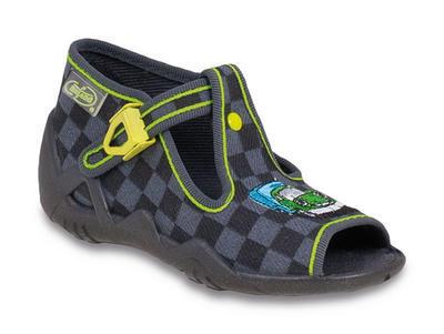 217P055 18 - dět.sandálek-šachovnice šedo-černá
