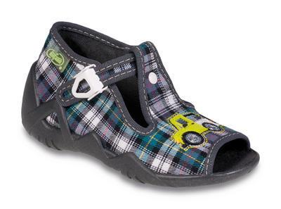 217P064 18 - dět.sandálek-káro petrol-šedé,auto
