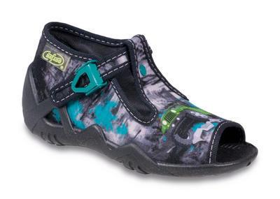217P065 20 - dět.sandálek-potisk šedobílý s tyrkys