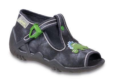 217P076 18 - dět.sandálek-šedá batika,dinosaurus