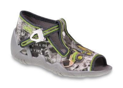 217P081 18 - dět.sandálek,šedý potisk se zel.