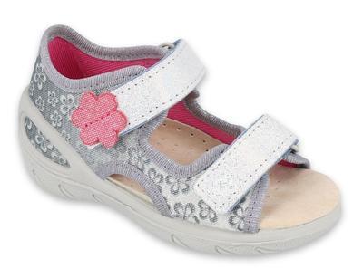 065X139 26 - SUNNY dívčí sandálky stříbrné,kytičky