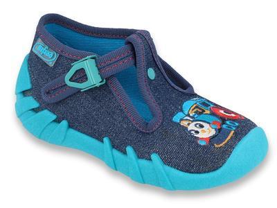 110P372 18 - chlapecká obuv přezka, modrá, mašinka