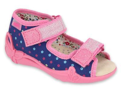 342P007 18 - dívčí sandálky, kožená stélka,kytičky