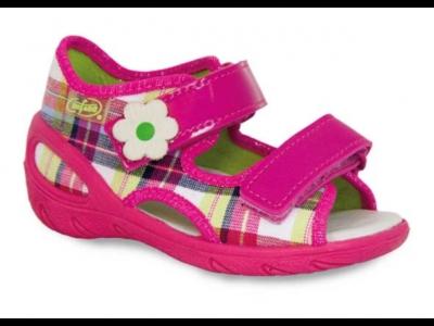 065X088 28 - SUNNY - sandálky Befado, růžové káro