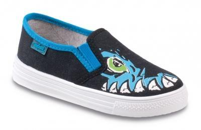 417Y023 33 - tenisky Befado, tm.modrá, modré zuby