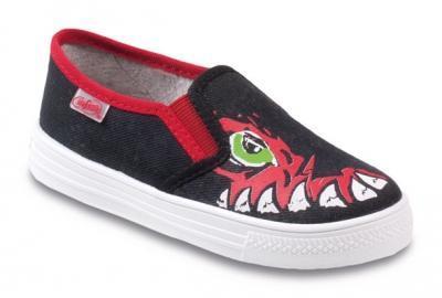 417Y024 31 - tenisky Befado, černá, červené zuby
