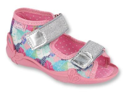 242P096 18 - dívčí sandálky 2 SZ růžové, lístky