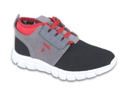516Y037 34 - botasky SPORT, šněrovací,šedá+červená