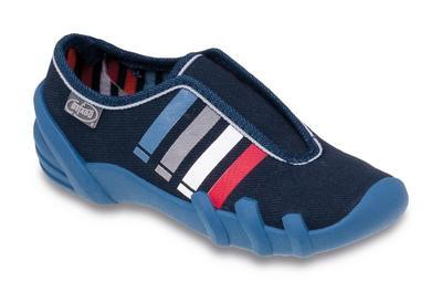 269X004 28 - botičky na gumu, modrá, pruhy