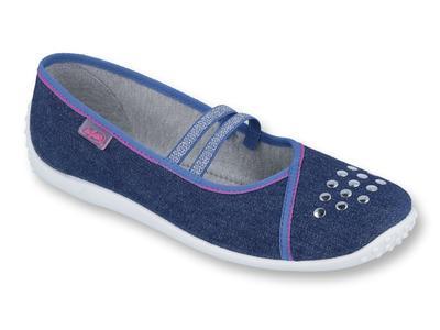 345Q164 37 - dívčí baleríny 2 gumky modré, kamínky
