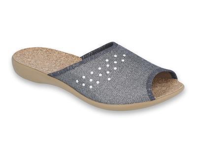 254D106 36 - VIKI OŠ dámské pantofle šedé, kamínky