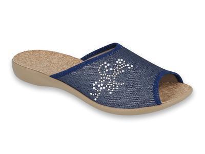 254D107 36 - VIKI OŠ dámské pantofle modré,kamínky
