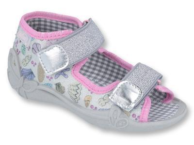 242P097 18 - dívčí sandálky 2 SZ stříbrné, mušle