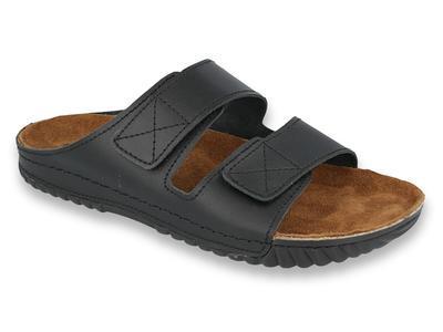 158M003 40 - INBLU pánské kožené pantofle černé