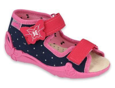 342P015 18 - dívčí sandálky, kožená stélka,motýlek