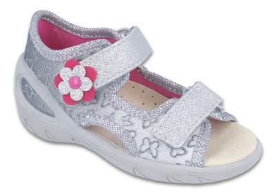 065P124 20 - SUNNY dív.sandálky, šedá, motýlci