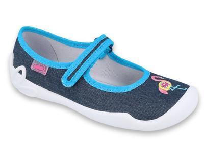 114Y400 31 - dívčí bačkorky Befado modré, plameňák