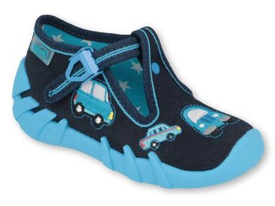 110P405 18 - chlapecké bačkorky Befado modré, auta