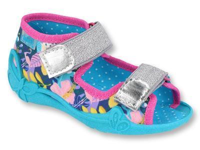 242P098 18 - dívčí sandálky Befado modré, květy