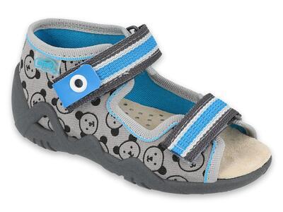350P017 18 - chlapecké sandálky Befado šedé,méďové