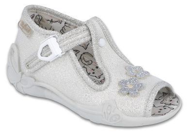 213P110 18 - dív.sandálek, stříbrná, kytičky