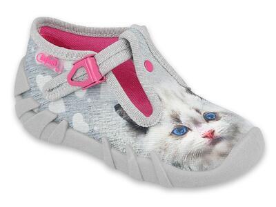 110P416 18 - dívčí bačkorky Befado šedé, kočka