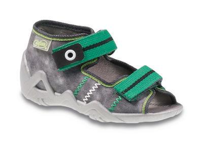 250P066 18 - chl.sandálek 2SZ, šedá se zelenou