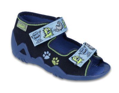 250P076 18 - chl.sandálek 2SZ, modrá, příšerky